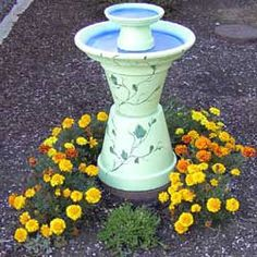 bird bath made from clay pots!!