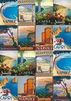 Vintage Italian Posters, Vintage Travel Posters, Poster Vintage, Vintage Italy, Sorrento, Print Pictures, Italy Travel, Capri, Poster Prints