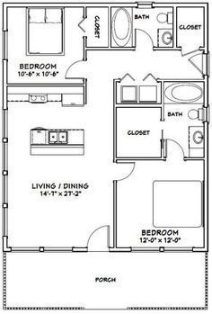 apartment floor plans Details about House -- 2 Bedroom 2 Bath -- PDF Floor Plan -- 768 sq ft -- Model Small House Floor Plans, Cabin Floor Plans, Tiny Cabin Plans, Cob House Plans, Small Bathroom Floor Plans, The Plan, How To Plan, Br House, Cottage House