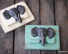 Adorable elephant hooks on handcrafted reclaimed wood