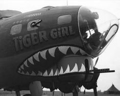 "militaryhistoryphotos: "" A B-17 Flying Fortress of the 388 Bomber Group, nicknamed 'Tiger Girl.' England, 1943. """