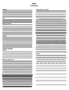 Adobe Illustrator Fashion Brushes - Apparel Trim: Bias tape, binding, ric rac, braids, rope, cording, chains, rib trim