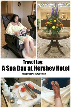 A Spa Day At The Hotel Hershey - Travel Log This luxurious spa offers many services that adults can enjoy to the fullest during out visit to Hershey, PA. Featuring quiet rooms, and high-class services and all you can drink Hershey hot chocolate and candies.  #pedicure #relax #relaxing #amazing #feelsgreat #feelsgood #sweetfeet #sweetwelcome #hersheypa #travel #mommyblogger #momblogger #lifestyle #hosted #lifestyleblogger #hershey Hersheypark #review #fullreview #traveler #spa