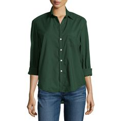 Frank & Eileen Eileen Long-Sleeve Button-Front Blouse (260 CAD) ❤ liked on Polyvore featuring tops, blouses, deep green, woven shirt, shirts & tops, green long sleeve blouse, spread collar shirt and extra long sleeve shirts