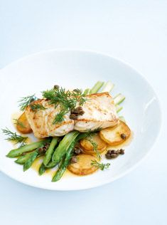 Roasted Fish, Potato, and Asparagus with Dill Butter | Donna Hay