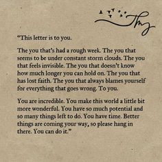 This letter is to you