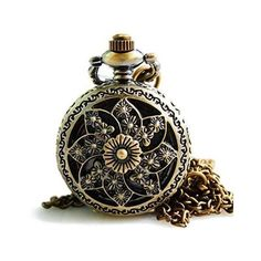 TIRIO Bronze Skeleton Floral Quartz Pocket Watch Steampunk Watch Women... (1295 DZD) ❤ liked on Polyvore featuring jewelry, necklaces, steam punk pocket watch, bronze necklace, bronze chain necklace, chain pocket watch and pendant necklace
