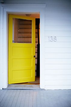 yellow door exterior - yellow door - yellow door grey house - yellow door exterior - yellow door blue house - yellow doors on houses - yellow door white house - yellow door brick house - yellow door house Yellow Front Doors, Mellow Yellow, Humble Abode, Windows And Doors, My Dream Home, Decoration, Inspiration, Beautiful Homes, House Plans