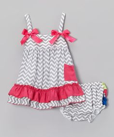Another great find on #zulily! Gray & Hot Pink Zigzag Ruffle Swing Top & Diaper Cover - Infant #zulilyfinds
