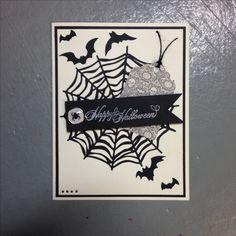 Halloween handmade card. Happy Halloween. Spiderweb card.