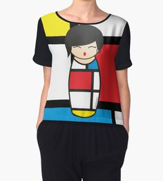 http://www.redbubble.com/people/pendientera/works/17252046-kokeshi-composition-with-red-yellow-blue-and-black?p=chiffon-top