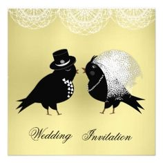YELLOW GOLD - The example shown is a  cute Bride and Groom Love Birds Invitation card. Browse this and more yellow and golden hued invitations.