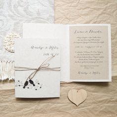 Vestuviniai kvietimai, krikštynų, gimtadienio, natūralus, rustic, rustikalinis, eko stilius, kaimo sodyboje, pilkšvas, rudas, paukščiai