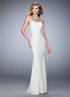 b2353a649d6 2016 White Beaded Neckline Crisscross Back Straps Prom Dress Sale