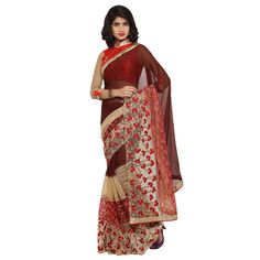 Brown Colored Embroidered Faux Georgette Party Wear Saree Triveni