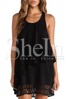 ärmelloses Kleid mit Rüschen-schwarz 19.31