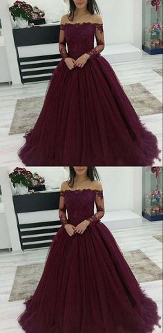 Burgundy Prom Dresses Off The Shoulder Lace Applique Long Sleeves Tulle Evening . - - Burgundy Prom Dresses Off The Shoulder Lace Applique Long Sleeves Tulle Evening Dress Source by ColumbusBridal Cute Prom Dresses, Prom Dresses Long With Sleeves, Tulle Prom Dress, Elegant Dresses, Casual Dresses, Long Dresses, Sexy Dresses, Wedding Dresses, Simple Dresses