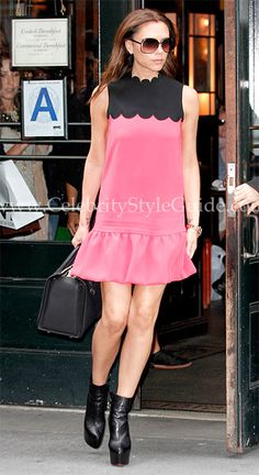 Seen on Celebrity Style Guide: Victoria Beckham wore the Victoria by Victoria Beckham Spring 2012 Color Block Dress leaving Balthazar Restaurant in NYC.