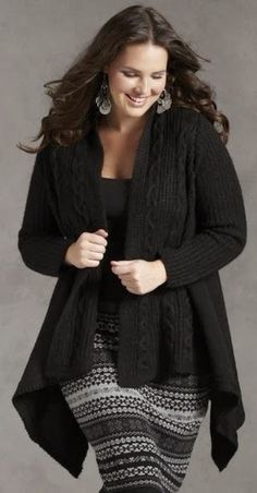 Adorable long cardigan for plus size oversized black skirt gray knitted earrings outfit fashion apparel women clothing style winter autumn