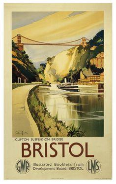 Vintage Travel Poster Bristol Clifton Suspension Bridge   Designed by Claude Buckle in 1936 for the Great Western Railway (GWR) and LMS to promote rail travel to Bristol.   You can buy it online at https://www.connellandtodd.com/p/bristol-vintage-travel-poster-print  #Vintage #Rail #Train #Poster #Print #Art #Vintage #Old #Classic #British #Britain #UK #Travel #Railways #Posters #Gifts #Somerset #Bath #Spa #Wedding Gift #Birthday Gift #Holiday www.connellandtodd.com
