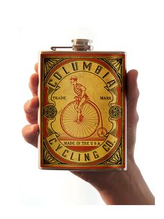 Columbia Cycling Co. - Stainless Steel Flask - 8oz.. $26.00, via Etsy.
