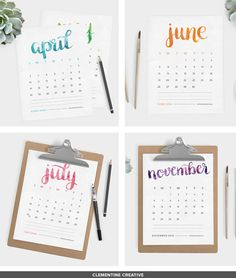 Free Printable 2016 Calendar by Clementine Creative