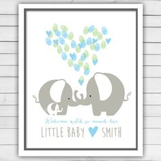 Elephant Baby shower guestbook thumbprint by Anietillustration