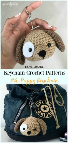 And Fun Keychain Crochet Patterns Cute And Fun Keychain Crochet Patterns Cute And Fun Keychain Crochet Patterns Crochet Puppy Keychain Free Pattern Keychain Crochet Patterns Crochet Gratis, Crochet Amigurumi Free Patterns, Afghan Crochet Patterns, Crochet Dolls, Crochet Simple, Cute Crochet, Dog Crochet, Crochet Handbags, Crochet Purses