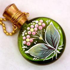 Enameled Chatelaine Green Glass Perfume Bottle