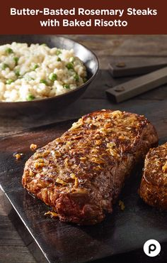 Turn your kitchen into a steakhouse with this simple butter-basting technique. Let a little herb- and garlic-infused butter bring out the best in your beef. The Butter-Basted Rosemary Steaks with Baked Risotto from Publix Aprons sizzles with cracked pepper, garlic, and fresh rosemary to excite every bite.