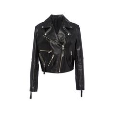 Public School Rodney Gilia Biker Jacket ($1,475) ❤ liked on Polyvore featuring outerwear, jackets, zipper leather jacket, leather rider jacket, zipper jacket, cropped moto jacket and leather jacket