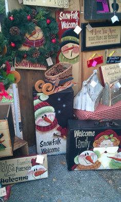 Some of my things from a recent craft fair I did. Christmas Wood, Primitive Christmas, Christmas Signs, Christmas Snowman, Winter Christmas, Christmas Ornaments, Christmas Ideas, Snowman Crafts, Holiday Crafts