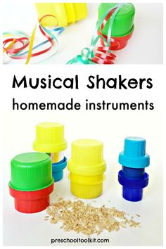 Kids can make colorful musical shakers for music activities at home or in the classroom. These homemade instruments are simple to make with recyclables and rice. Get in on the fun with homemade musical shakers for music and movement time. Music Activities For Kids, Music For Kids, Diy For Kids, Good Music, Teaching Music, Teaching Kids, Instrument Craft, Detergent Bottles, Homemade Instruments