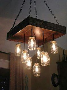 Mason jars and recycled wood!