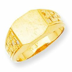 14k Yellow Gold Men's Signet Ring. Gold Weight- 3.55g. 9.6mm x 10.8mm face. Jewelry Pot. $250.99. All Genuine Diamonds, Gemstones, Materials, and Precious Metals. 30 Day Money Back Guarantee. Your item will be shipped the same or next weekday!. 100% Satisfaction Guarantee. Questions? Call 866-923-4446. Fabulous Promotions and Discounts!. Save 62% Off!
