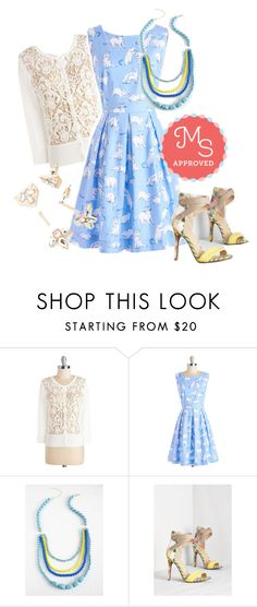 Chalk of the Town Dress in Kittens by modcloth on Polyvore featuring Bea & Dot, women's clothing, women's fashion, women, female, woman, misses, juniors, outfit and cats