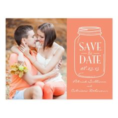 Shabby Chic Save the Date Cards Coral Mason Jar Photo Save the Date Postcard