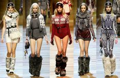D&G ski outfits.  I have to admit I'm liking fuzzy boots/ boot cuffs/ legwarmers these days.