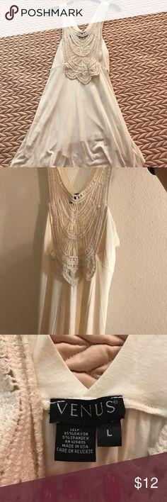 Venus summer top Cream color summer top by Venus with crochet neckline. Size large. VENUS Tops Tank Tops