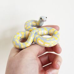 Ball Python Snake Figurine made from polymer clay by The Clay Kiosk on Etsy.