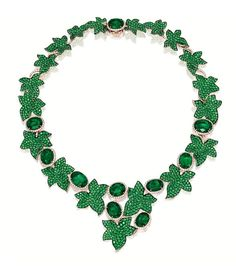 Emerald and Diamond 'IVY' Necklace, MICHELE DELLA VALLE. The flexible ivy branch set with ten oval emeralds together highlighted by leaves set with circular-cut emeralds. Emerald Necklace, Emerald Jewelry, Green Necklace, Diamond Jewelry, Beaded Necklace, Crystal Jewelry, Diamond Necklaces, Leaf Necklace, Diamond Earrings
