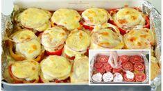 Pečené zemiaky s paradajkami, kyslou smotanou a mletým mäsom: Najlepšie pečené zemiaky, aké ste jedli! Snack Recipes, Snacks, Mozzarella, Sushi, Muffin, Chips, Potatoes, Treats, Vegetables