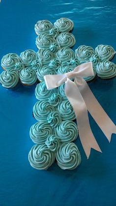 Baptism cupcake pull-apart cake....but in all white with a blue ribbon @Kelly Teske Goldsworthy Majewski