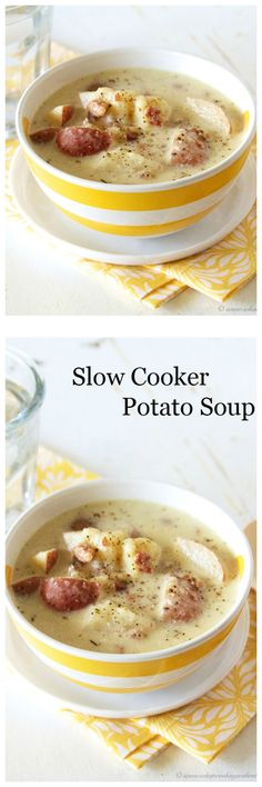 Slow Cooker Potato Soup on www.cookingwithruthie.com is delicious and turns our amazing every time!