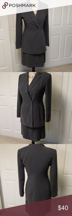 Beautiful b bennett double breasted dark gray suit Dark gray double breasted suit with pencil skirt with slit on right side b bennett Skirts Skirt Sets