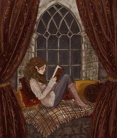 Hermione Granger reading in Gryffindor tower. The autumn vibes are hitting me hard with this one and I'm 100% basic and ok with it. (yo somebody make a gif of this or something with twinkling stars in...