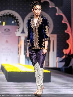 Former Miss India Navneet Kaur Dhillon showcases a creation by designer Raghavendra Rathore during India Bridal Fashion Week held at Grand Hyatt, in Mumbai. Indian Show, Dia Mirza, Miss India, Grand Hyatt, In Mumbai, Bridal Fashion Week, Velvet Tops, Bridal Style, Indian Fashion