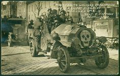 A photograph of an armored car on the streets of Munich on May 2, 1919, filled with armed Freikorps soldiers out to shoot some Communists. This is an early Hoffman Real photo postcard, signed in the negative