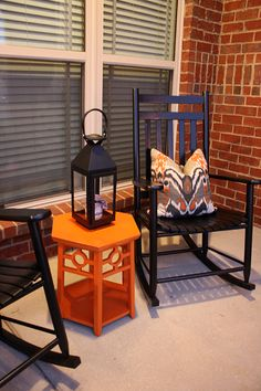 Fall Front Porch Decor Autumn Black Rocking Chairs - #fall #fallporch #rockers
