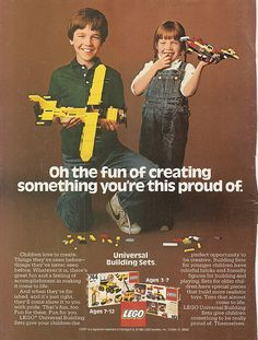 The magic of LEGO is captured in these ads - it does not take a movie or cartoon character to make a great toy - it takes children's engagement and a sense of pride in building or creating. We can't help but smile when we look at these retro ads. Vintage Lego, Vintage Ads, Vintage Ephemera, Vintage Posters, 80s Ads, 1980s, Retro Ads, Retro Advertising, Gender Stereotypes